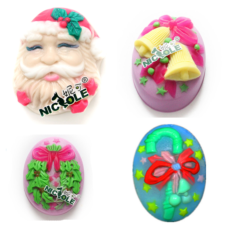 Nicole Mold Christmas Bell Candy Cane Santa Claus DIY silicone cake mold Christmas dacoration mould soap form(China (Mainland))