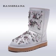BASSIRIANA Новый 2017 Черный Белый Ботильоны Для Женщин Металлические Украшения Мода дамы Сексуальные Сапоги Зимняя Обувь Сапоги На Платформе(China (Mainland))