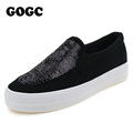 GOGC Black Canvas Shoes for Women Height Increasing Shoes with Sequin 2016 Women s Casual Shoes