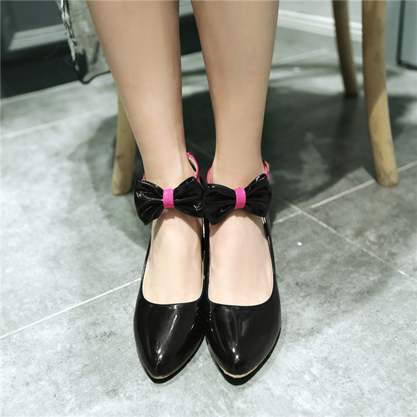 2015 summer new sweety series bowtie pionerd-toe women pupms med heels swomen pupms Comfortable and breathable women shoesE3279<br><br>Aliexpress
