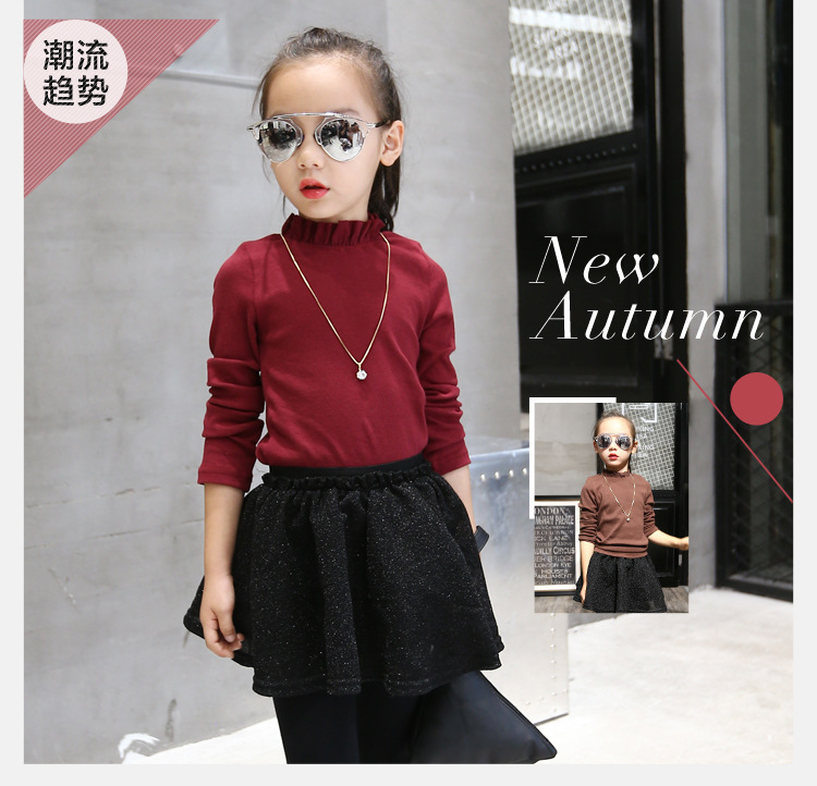 2016 Children Long Sleeve Basic Shirts Cute New Autumn Girls Knit Shirts Kids Thin Shirt Toddler Tops Not Contain Necklace,3-12Y