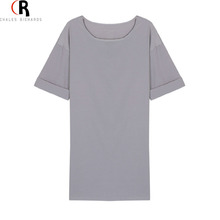 Grey Half Sleeve Mini Ladies Dresses Fashion Autumn 2016 New Arrival Designer Women Choies Female Casual Loose Tee Dress(China (Mainland))