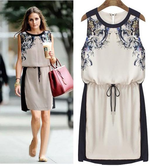 Hot 2014 Spring And Summer Women 39 S Fashion Drawstring Print Plus Size Clothing Dresses Color