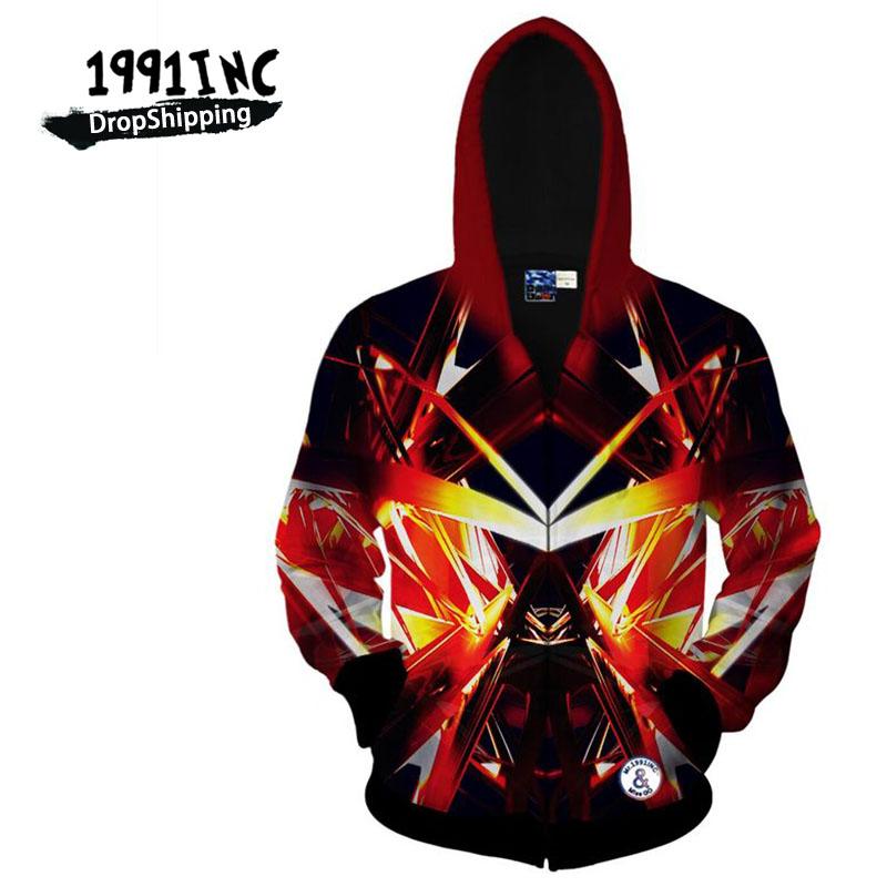 1991INC,Autumn Winter 3D Zipper Hooded Hoodies Men/Womens Harajuku Hip Hop Universe Galaxy Machine Light Printed 3D Sweatshirt(China (Mainland))