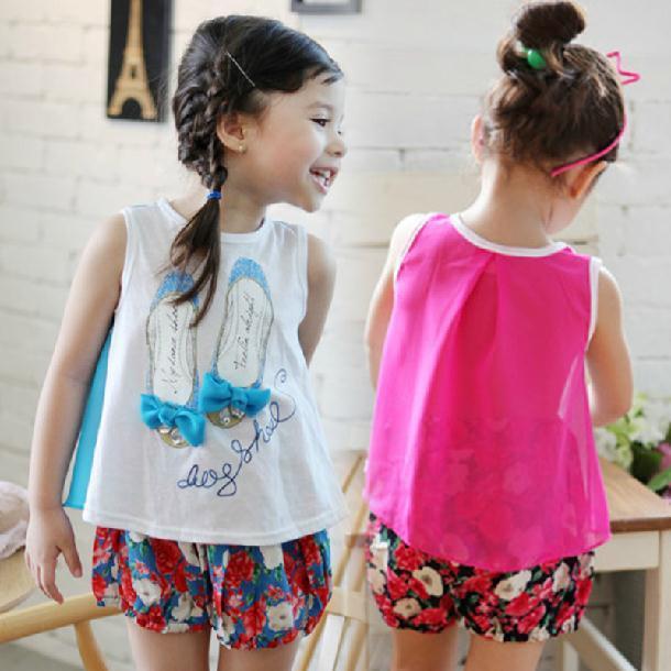 Девочка верхний рубашка лето дети в одежда девочек - рубашки обувь узор дети рубашка без рукавов