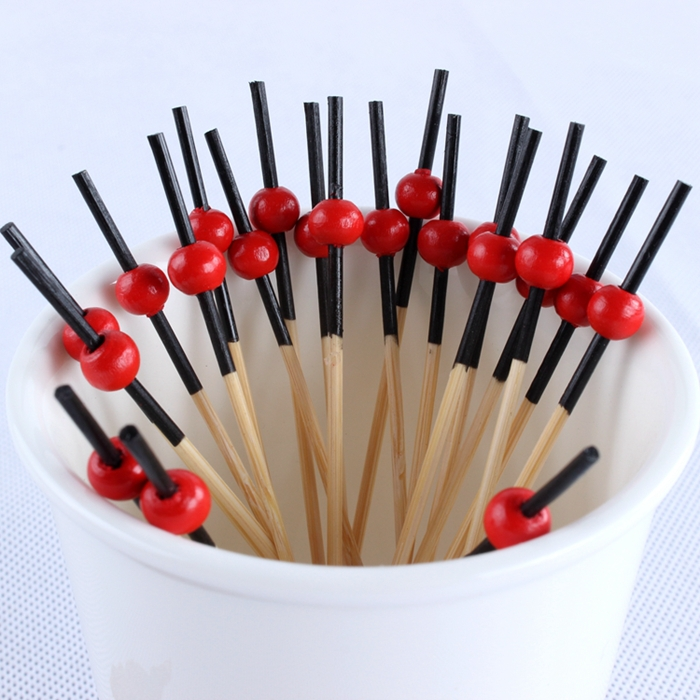Hotel KTV creative love red fruit fruit fork signed bamboo toothpicks barbecue signed bamboo fruit fork creative tableware(China (Mainland))