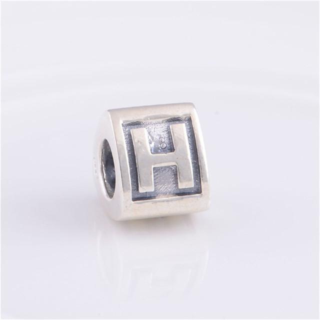 Подходит пандоры прелести браслет 925-Sterling-Silver треугольной формы европейский письмо H бусины женщин DIY мода ювелирных изделий