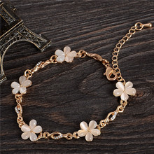 Fine Jewelry Natural Stone Champagne Opal 18k Gold Filled Flower Charms Bracelets For Women bijoux femme(China (Mainland))