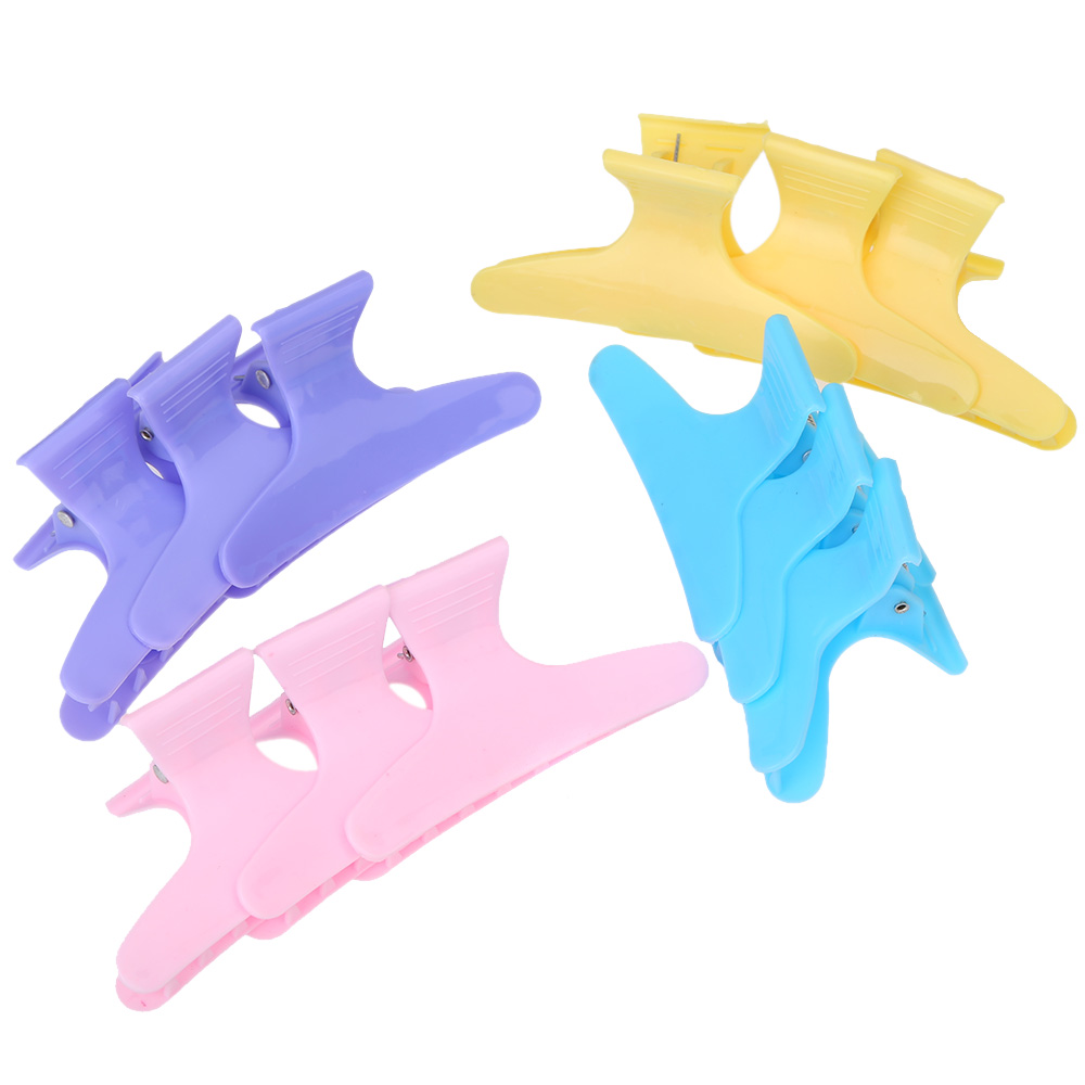 Styling Tools Plastic Colorful Hair Clips Hairdressing Tool Butterfly 12pcs Hair Claw Salon Section Clip Clamps(China (Mainland))