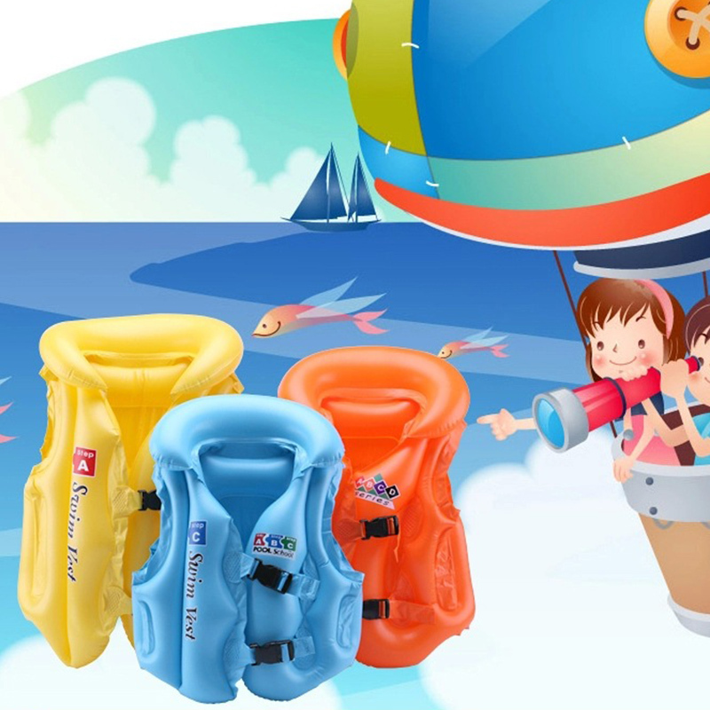 Children to Adults Summer Child Safety Swimming Blue Orange Yellow PVC Material Inflatable Life Jacket Vest for Kids 2015(China (Mainland))
