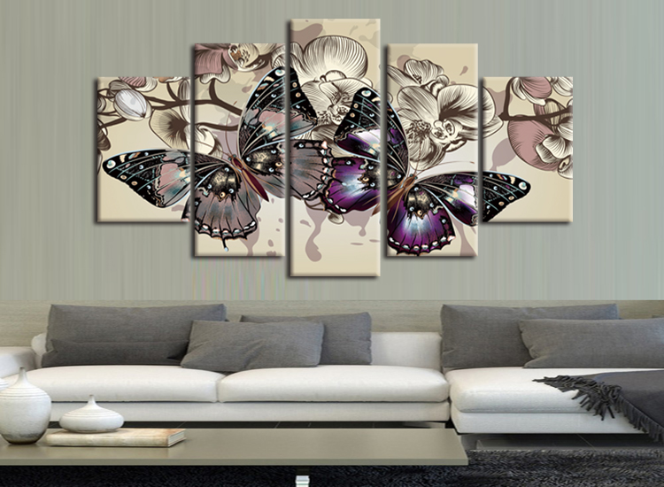 5 Piece Abstract Flower Painting For Livingroom Purple Butterfly Flower Frame Picture on Wall Unique Gift Paint Canvas Painting(China (Mainland))