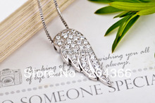 GNX0300 Collares Mujer 2015 Genuine 925 Sterling Silver CZ Angel Wings Pendant Necklace For Women Fashion