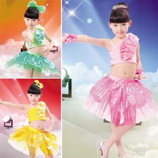 Free Shipping Children's Girls Perform Decorated With Leaves Modern Latin Dance Costume Dress Wholesale(China (Mainland))