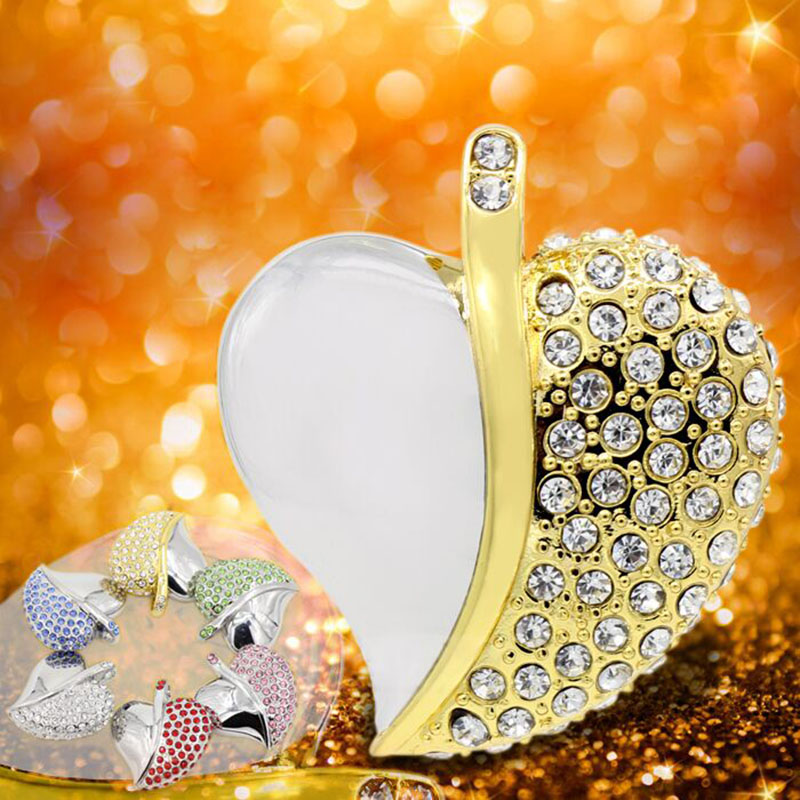 2016 New Fashion RobotSky Real Capacity Jewelry Crystal Heart 4GB 8GB 16GB 32GB Pen Drive Pendrive USB Flash Drive Free Shipping(China (Mainland))