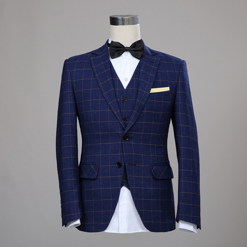 Navy Blue Classic Tweed Custom Made Wool Men Suits Blazers 2016 Tailor Slim Fit Wedding (Jacket+Pant+Vest) - Best Tailor-Made store