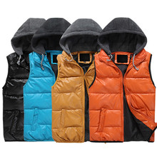 Free shipping New 2015 Autumn Winter Casual Hooded Vest Men High Quality Cotton-padded Waistcoat Spring Sleeveless Jacket(China (Mainland))