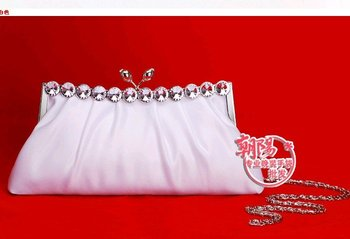 h1866 white party clutch with replica stones accept free shipping