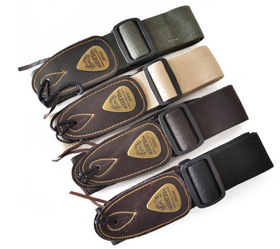 High Quality Soldier Cotton Leather Head Guitar Strap Electric Guitar Strap Bass strap(China (Mainland))