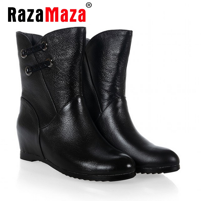 women real genuine leather height increasing ankle boots half short bota autumn winter boot warm footwear shoes R7598 size 34-40<br><br>Aliexpress