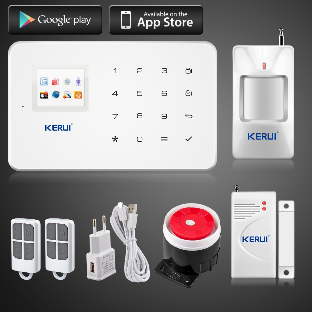 Kerui G18 Android iOS App control wireless security system gsm alarm system wireless magnetic window sensor motion detector(China (Mainland))