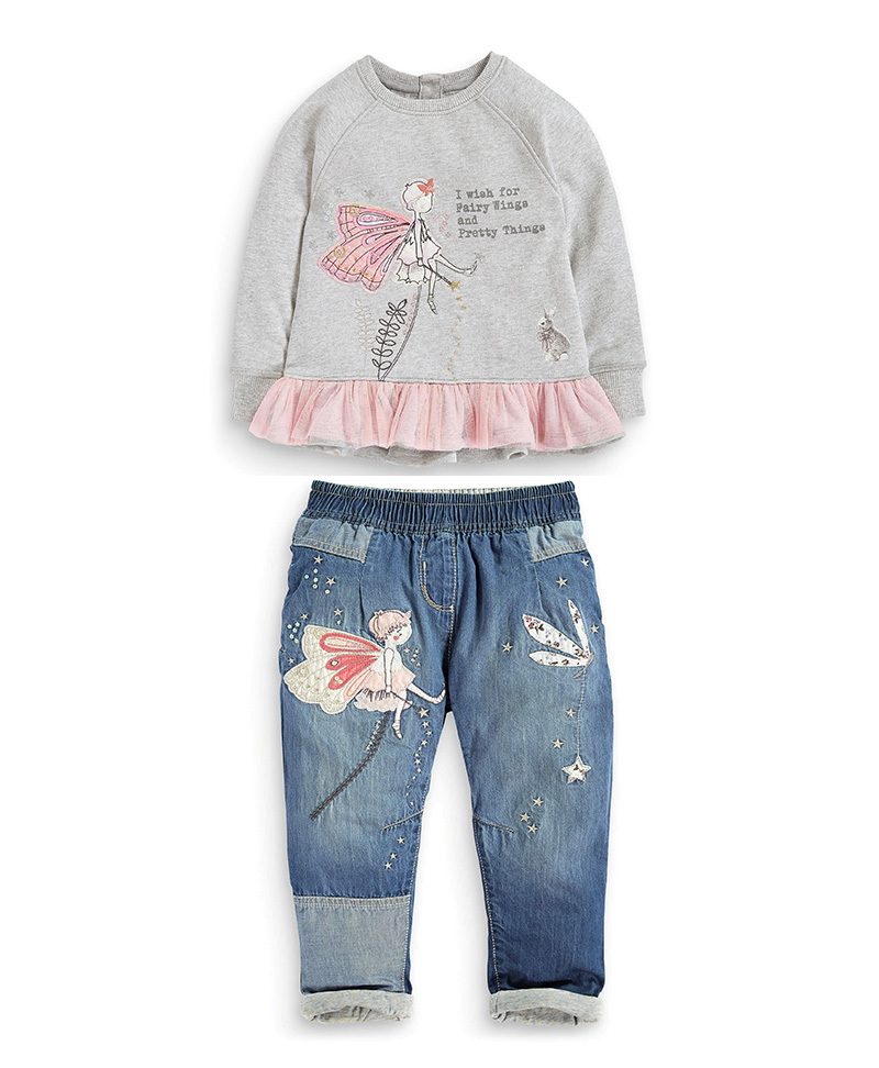 2015 new grils clothes suit Cartoon long-sleeved T-shirt + jeans girls 2-6 years old Autumn student Casual - Panda store