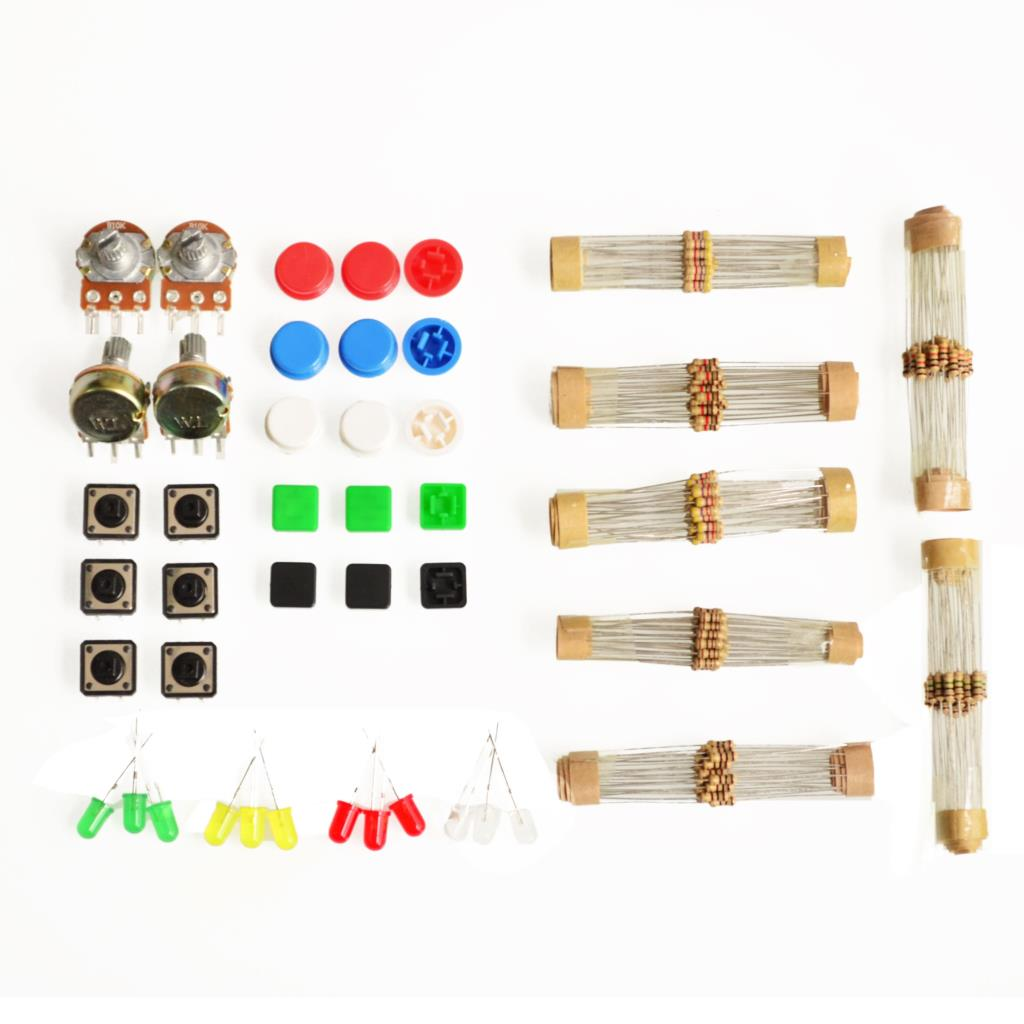 1 sets Handy Portable Resistor Kit for Arduino Starter Kit UNO R3 LED potentiometer tact switch pin header free shipping(China (Mainland))