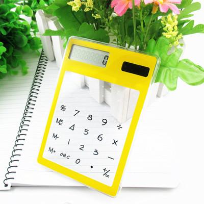Ultra Slim Solar Touch Screen LCD 8 Digit Electronic Transparent Calculator 8.3*12cm cute light device solar calculator(China (Mainland))