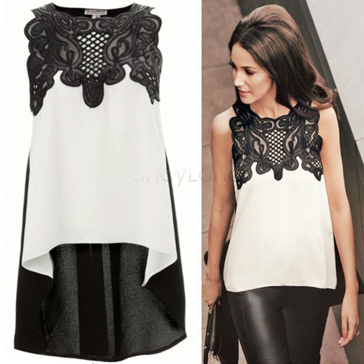 New Brand 2015 Womens Lace Crochet Chiffon Blouses Shirt Sleeveless Sexy Women Clothing Plus Size M L XL B19 CB034107