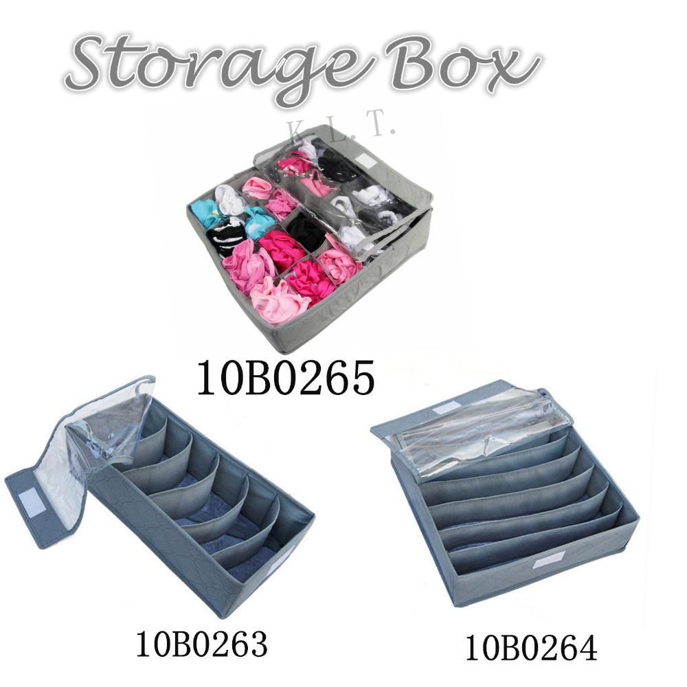 New Grey Various Grid Pattern Fashion Convenient With Cover Folding Storage Box Bag for Underwear Bra Sock Necktie Organizer(China (Mainland))