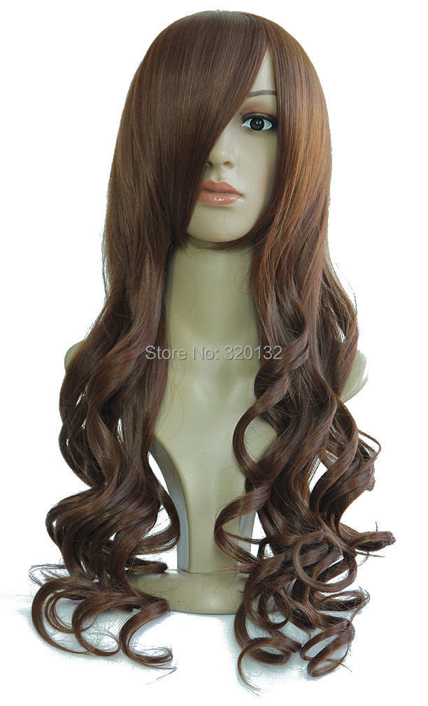 brazilian body wave Sexy Long Curly Fancy Dress Brown Wigs Cosplay Costume Full Wig Kanekalon Hair wigs(China (Mainland))