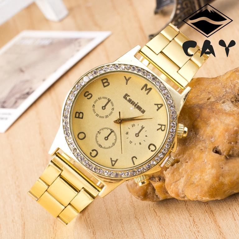 (0638) Gold  three Dial  Stainless Steel Band Rhinestone Dress Watch Quartz Watch Woman Men Watch Golden Unisex watch