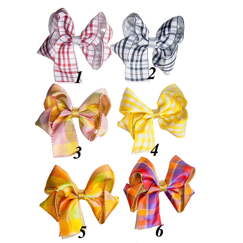 """New Fashion 4"""" Boutique Plaid Woven Ribbon Hair Bow For Baby Girls Kids Glitter Hair Accessories With Clip Headwear Hairgrips(China (Mainland))"""
