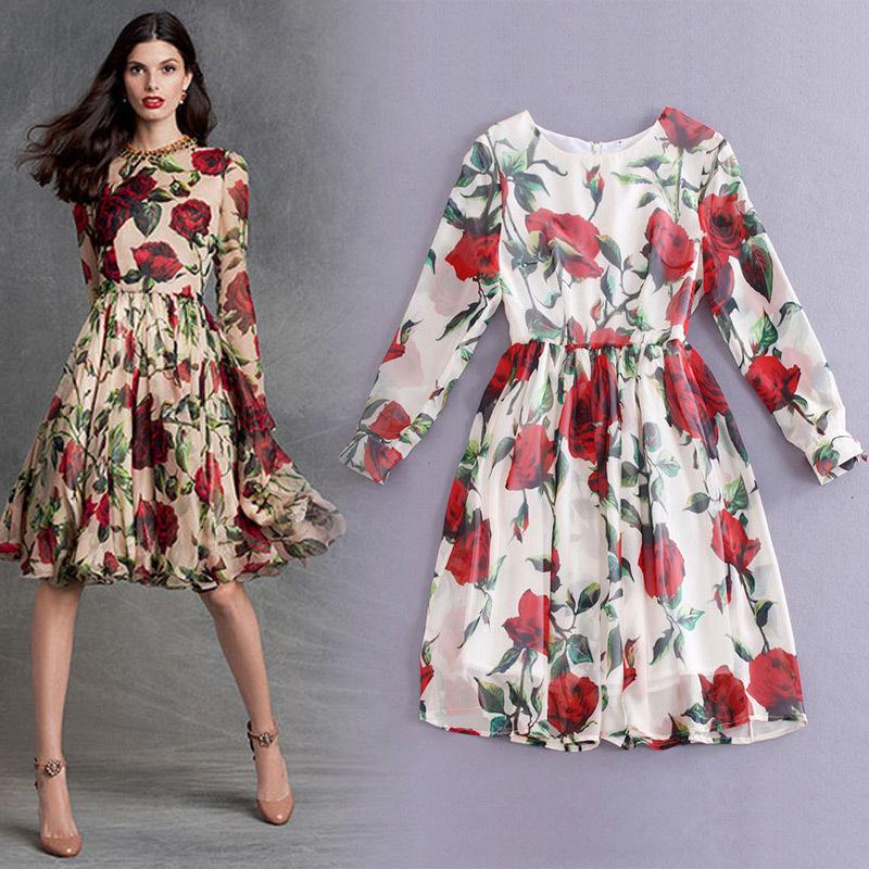 Famous brand summer dress 2015 runway dress long sleeve O neck high quality women brand dress(China (Mainland))
