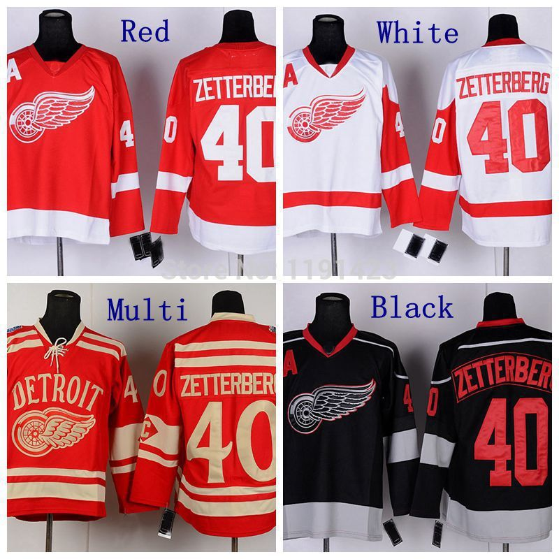 Hotsale Men's 2014 Winter Classic Detroit Red Wings Hockey Jerseys #40 Henrik Zetterberg Jersey Red Color Cheap Stitched Jerseys(China (Mainland))