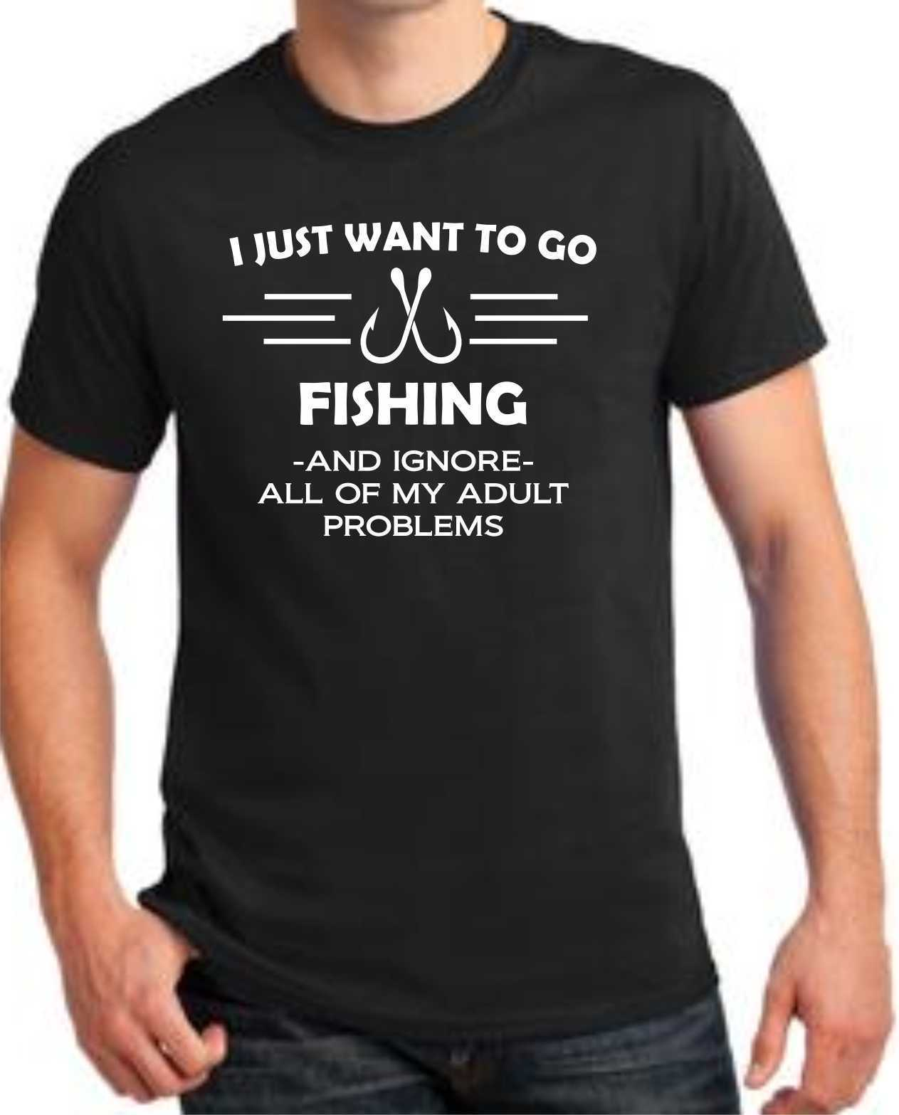 Plain T Shirts Comfort Soft O-Neck I Just Want To Go Fishinger Fathers Day Graphic Short-Sleeve Mens Shirt