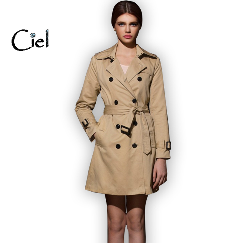New women brand fashion trench coat double breasted autumn with dress burb pocket belt,High quality coat feminino #393(China (Mainland))