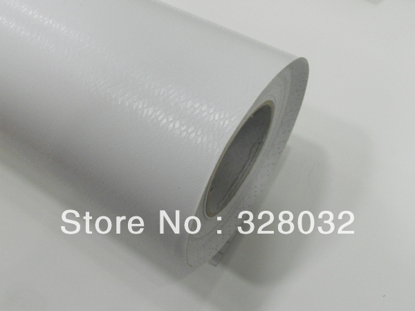 White Color Snake Skin Design Car Protection Vinyl Film Wrap sticker Self-adhesive with Air Drains 1.52m*30m Free Shipping(China (Mainland))