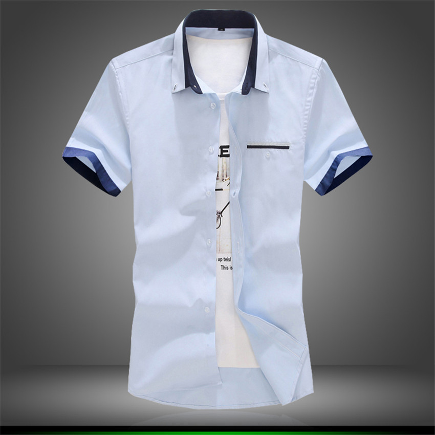 2015 summer casual shirt men fashion brand quality cotton for Mens short sleve dress shirts