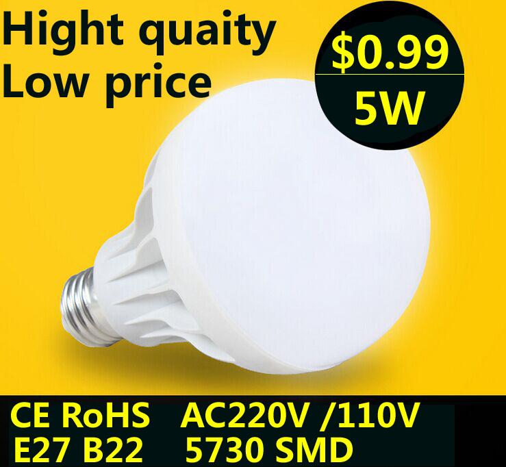 Wholesale SMD 5730  E27 B22 Led  Bulb 3W 5W 7W 9W 12W 15W  LED lamp Light  220V 110V  Cold Warm White Led Spotlight Lamps  L3(China (Mainland))