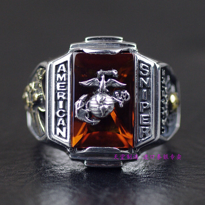 Thailand, Silver The U.S. Marine Corps Sniper Badges Ring<br><br>Aliexpress
