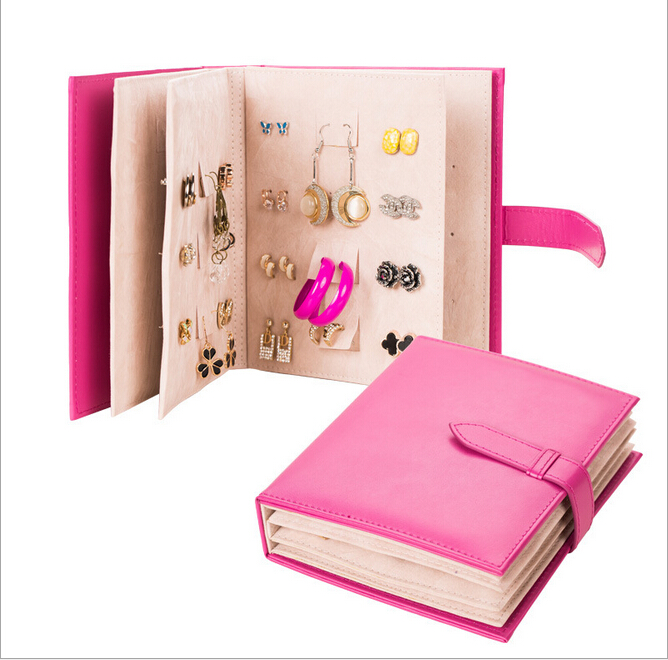 2017 Pu Leather Stud Earrings collection book pattern portable jewelry display creative jewelry storage box(China (Mainland))