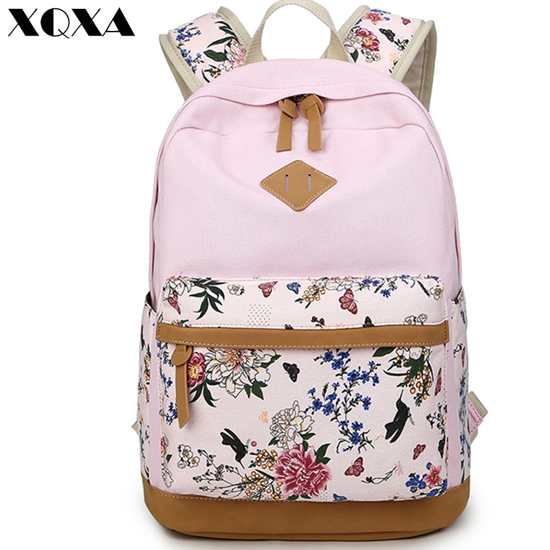 Lady Bags Backpacks Nubuck Leather Printing Canvas Rucksack Mochila Escolar School Teenager Backpack Female Backpacks for Women
