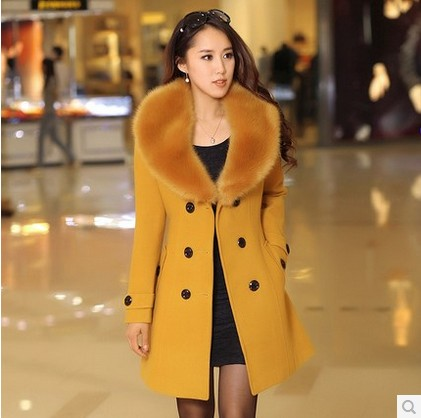 Good quality women's Double Breasted big Faux fur collar Plus Size Wool Coat Long style Winter Jackets parka Outerwear(China (Mainland))