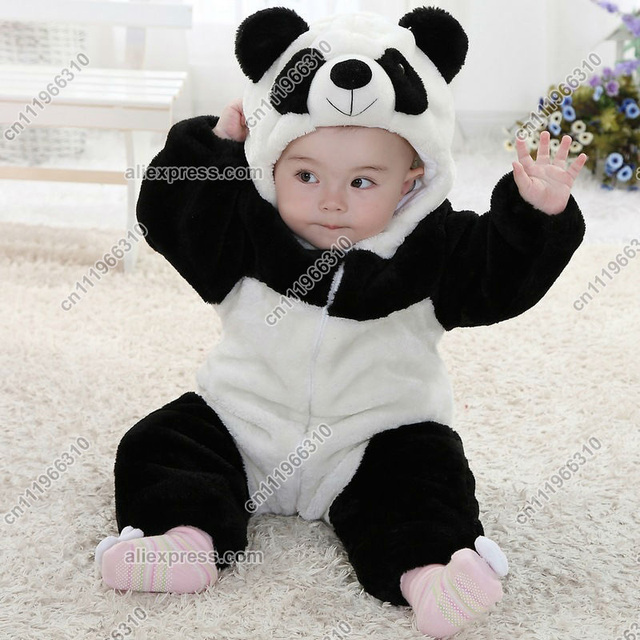 Panda Animal Baby Infant Toddler Grow Onesie Bodysuit Romper Jumpsuit Coverall Outfit Cloth One-Piece Teddies Hooded Costume