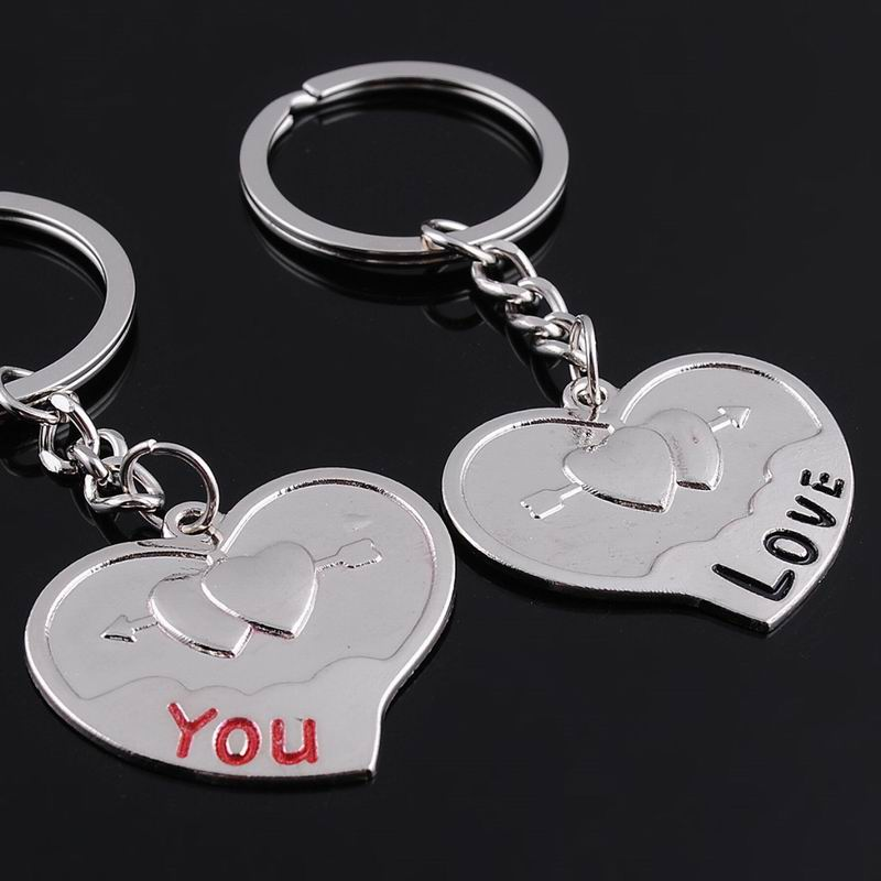 2016 Hot Sale New Couple LOVEYOU Heart Car Keychain Keyring Key Chain Lover Novelty souvenirs Gift ML057(China (Mainland))