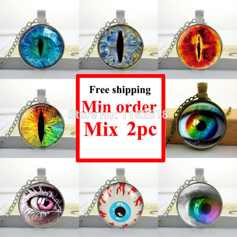 Wholesale glass cabochon necklace silver art cat eye necklace pendant eye handmade jewelry necklace glass dome pendant(China (Mainland))