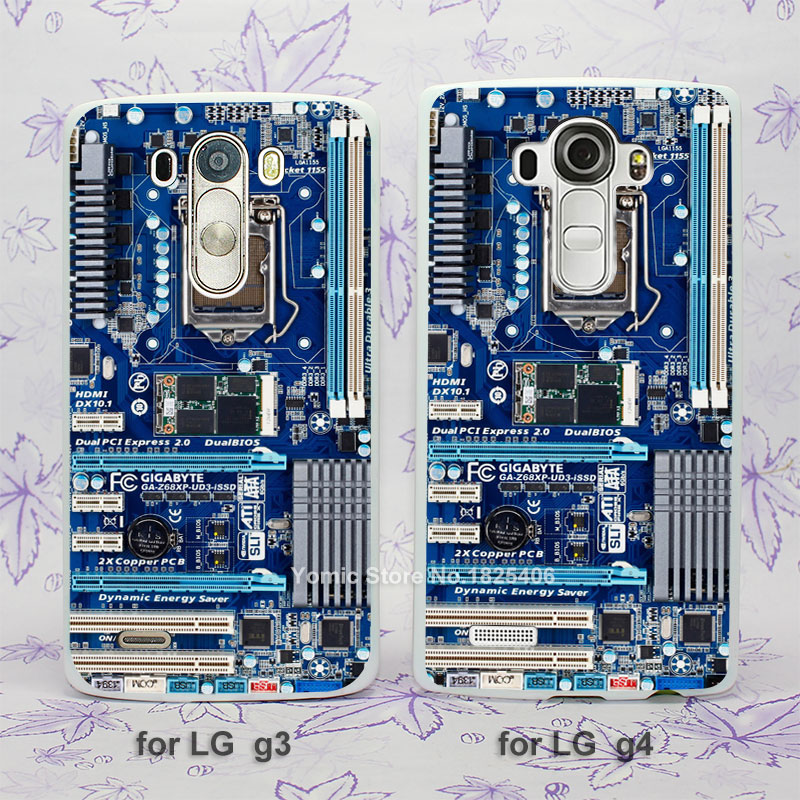 Blue Computer Motherboard hard White Skin Case Cover for LG G3 G4 plastic case cover(China (Mainland))