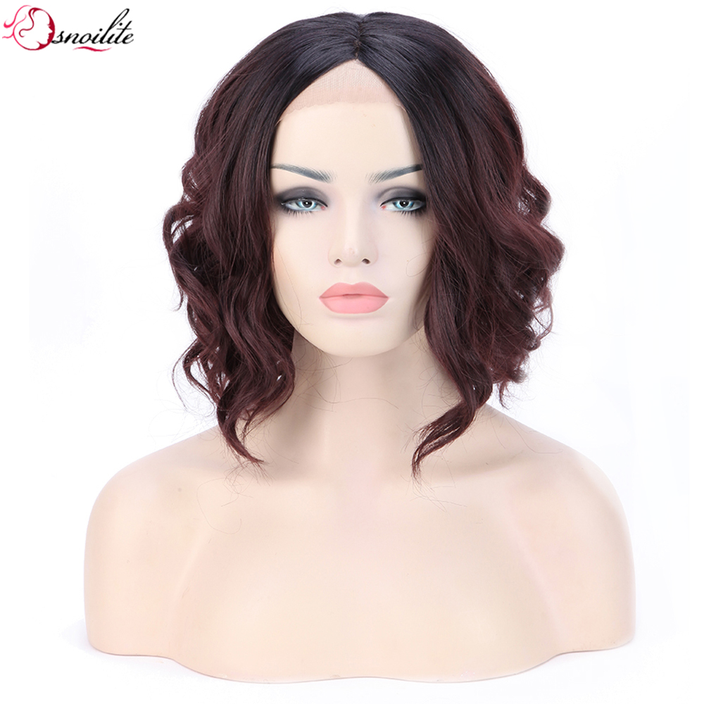 "s-noilite 16"" Loose Body Wavy Bob Lace Front Synthetic Wig Heat Friendly Full Head Wigs for Women Mix Black Wine Red(China (Mainland))"