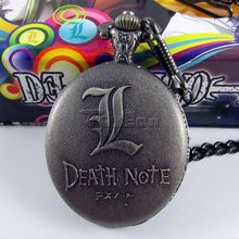 New Hot gift Death Note Pocket watch Quartz Alloy Round Metallic Copper Necklace For Birthday holidays