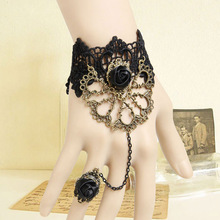 Handmade Lolita Gothic Cutout Fan Metal Bronze Flower Rose Black Lace Adjustable Ring and Bracelet SET Ball Fashion Accessories